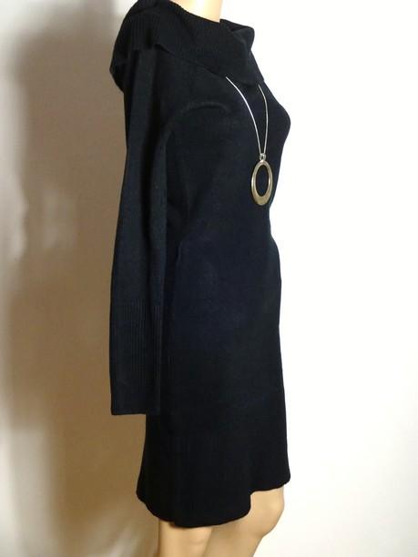 kleid gr 34 36 schwarz knielang stiefel strick kleid mit. Black Bedroom Furniture Sets. Home Design Ideas