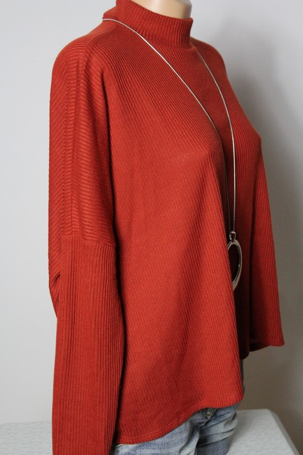 h m pullover gr m kurz dunkel orange oversize rippstrick. Black Bedroom Furniture Sets. Home Design Ideas