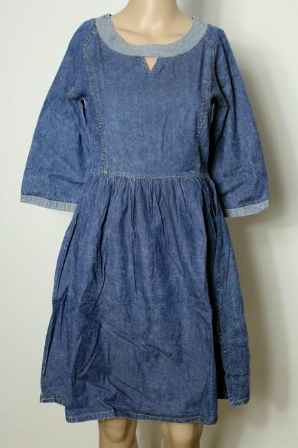 kleid gr 36 blau knielang stiefel jeans 3 4 arm kleid mit. Black Bedroom Furniture Sets. Home Design Ideas