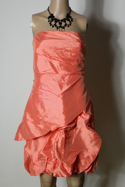 vila kleid gr m lachs rosa knielang corsage ballon party. Black Bedroom Furniture Sets. Home Design Ideas