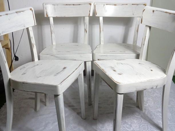 4x shabby holzstuhl holz stuhl bauernstuhl wei 60er jahre landhaus 4er set ebay. Black Bedroom Furniture Sets. Home Design Ideas