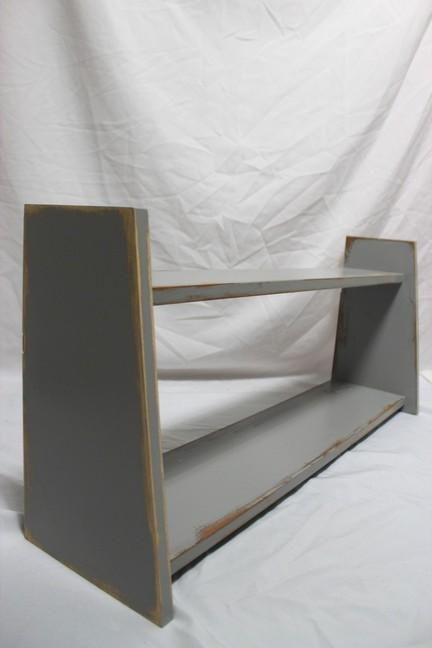 holz regal wandregal k chenregal grau im shabby chic. Black Bedroom Furniture Sets. Home Design Ideas
