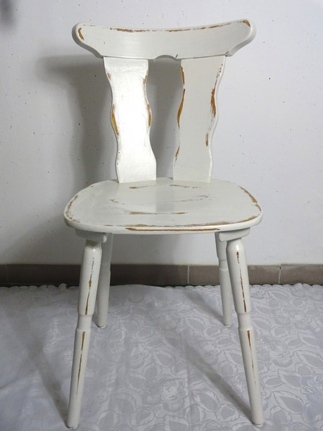 4x shabby holzstuhl k chenstuhl bauernstuhl holz stuhl wei 60er 4er set ebay. Black Bedroom Furniture Sets. Home Design Ideas