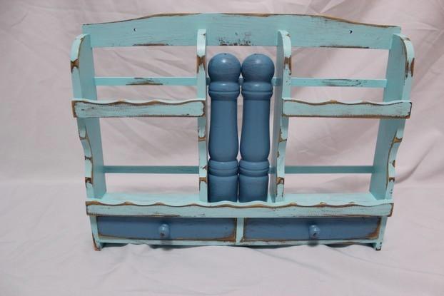shabby gew rzregal k chenregal mit schubladen hell blau shabby look landhaus neu ebay. Black Bedroom Furniture Sets. Home Design Ideas