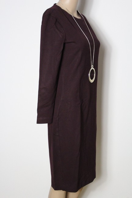 hallhuber kleid gr 36 bordeaux rot knielang langarm etui. Black Bedroom Furniture Sets. Home Design Ideas