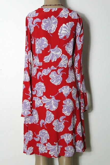 YAS Kleid Gr. S rot knielang Chiffon Kleid mit großen lila ...